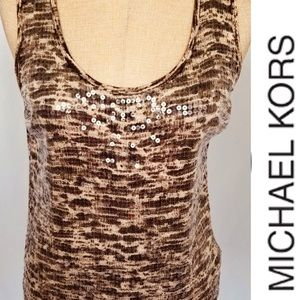 MICHAEL KORS Animal Print Sequined Tank Top